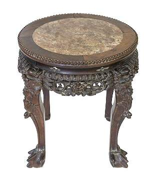 19th Chinese Teak Marble Top Stand