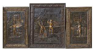 Outstanding Antique Cast Iron Fireplace Panel Set
