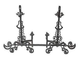 Large Scrolled Iron Andiron Set