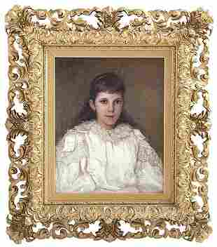 Clarke Hampton (19th Century) Oil, Portrait of Young