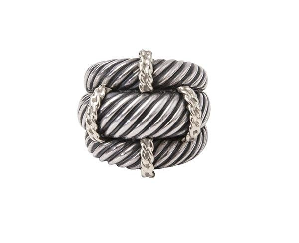 David Yurman Triple Cable Ring Band Sterling 14k Gold