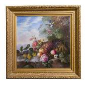 Schroter Oil Stillife of Fruit with Bird