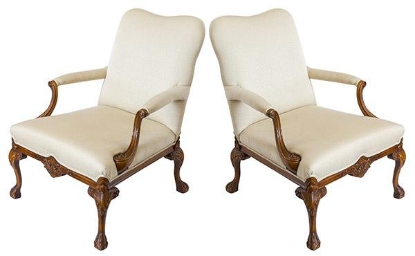 Pair of Carved Chippendale Lounge Chairs 20th Century