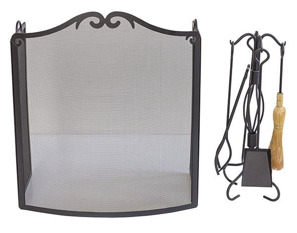 Enameled Iron Fireplace Screen & Tools