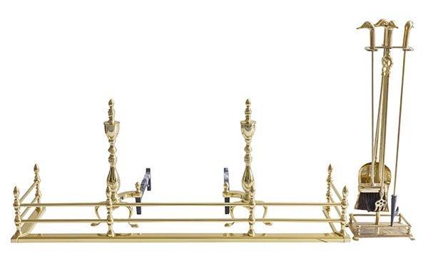 Queen Anne Brass Fireplace Set