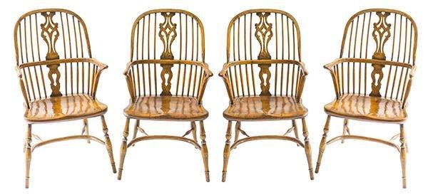 English Windsor Oak Dining Chairs