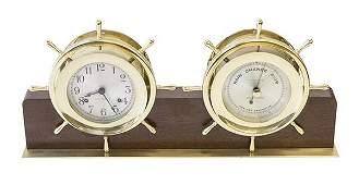 Brass Seth Thomas Ships Clock Barometer