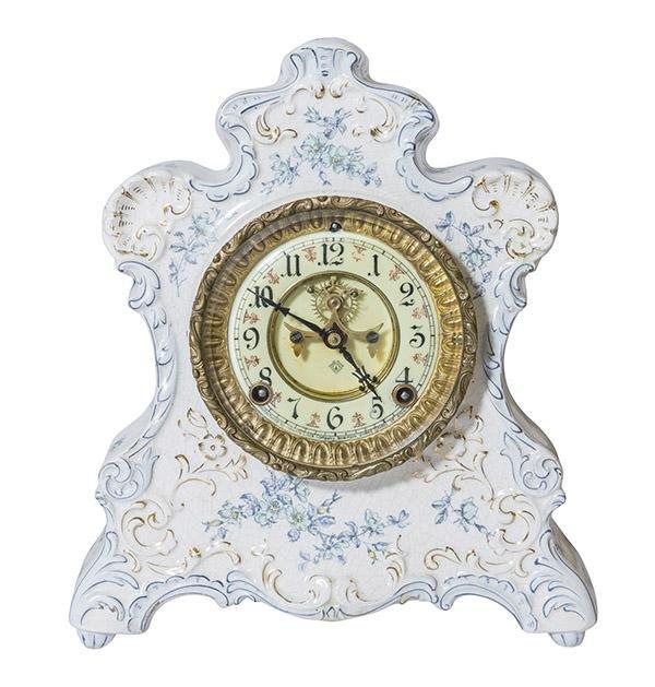Royal Bonn Ansonia Porcelain Mantel Clock