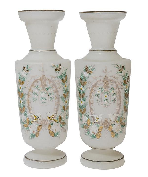 Pair of Hand Painted Satin Bristol Vases