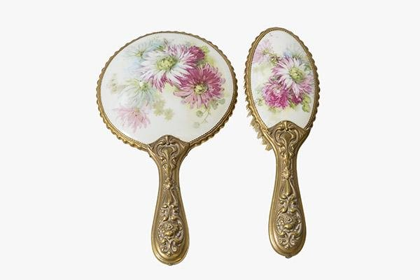 Porcelain Hand Mirror and Brush Set