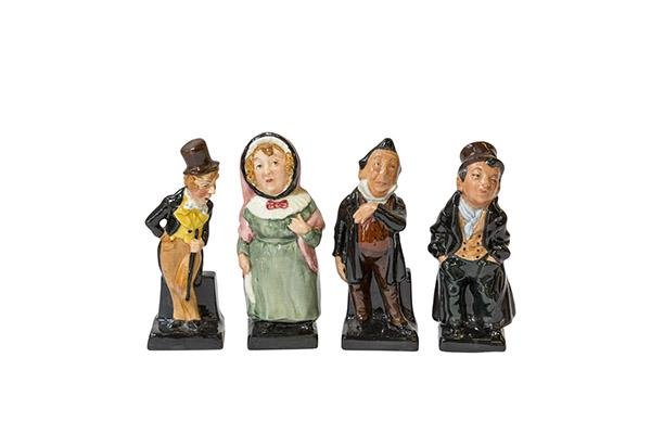 4 Miniature Charles Dickens Character Figurines by