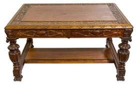 Outstanding Heavily Carved Victorian Partner's Desk