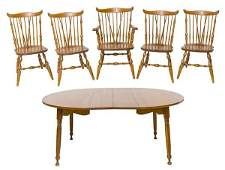 Cherry Dining Table and Spindle Chairs