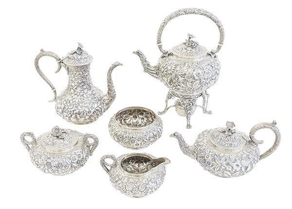 Outstanding S. Kirk & Sons Repousse Tea Set