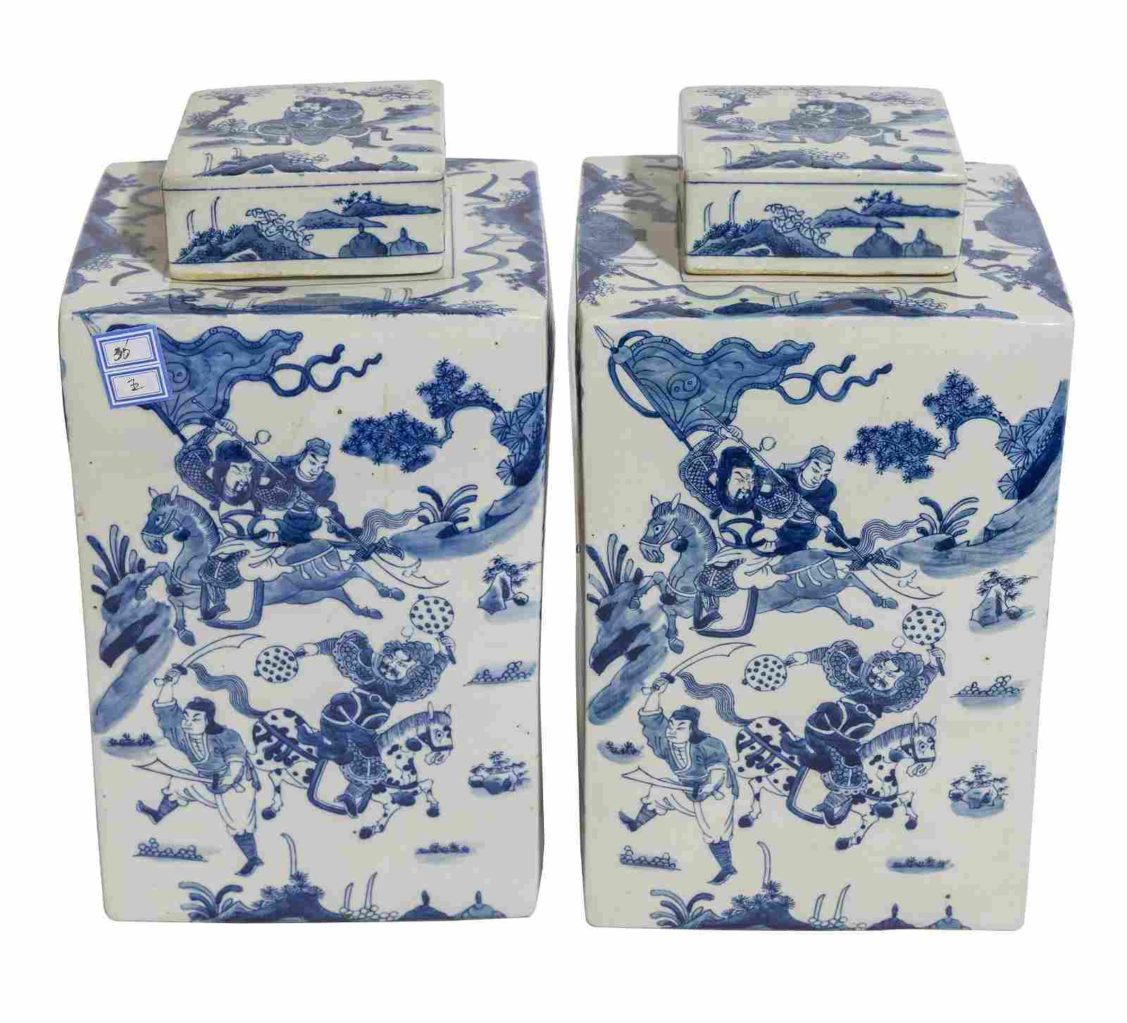 Pair of Chinese Canton Tea Cannisters