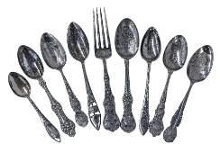 Sterling Silver Souvenir Spoons & Fork
