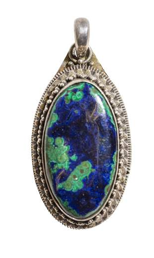 Sterling Silver Malachite & Azurite Pendant