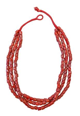 Coral Beaded Triple Band Necklace