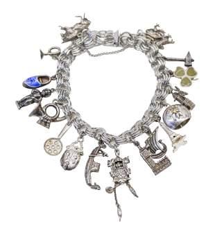 Designer Sterling Silver Charm Bracelet