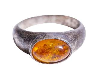 Sterling Silver Ring with Amber Stone
