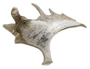 Outstanding Vintage Hand Carved Elk Horn Cribbage Board