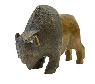 Hand Carved Buffalo Sculpture