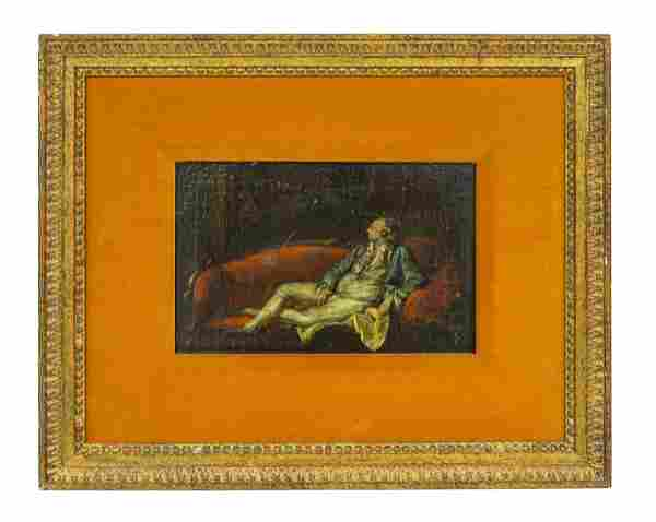 18th Century Oil, Reclining Gentleman on Sofa