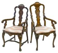 Late 18th Early 19th Century Dutch Marquetry Armchairs