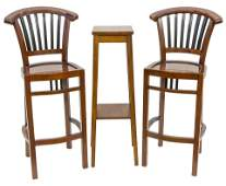 Pair of Country French Bar Stools & Plant Stand