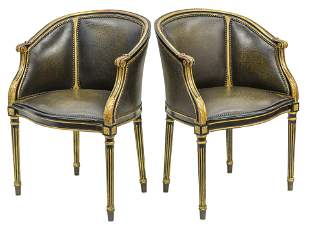 Theodore Alexander Curved Back Leather Lounge Chairs