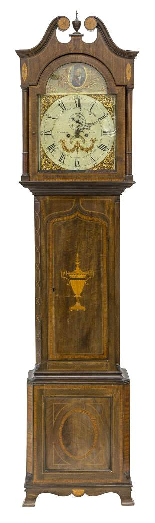 18th Century George III Inlaid Mahogany Tall Case