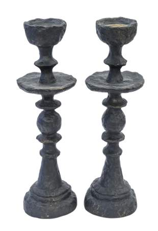 Candlesticks, pair.  Italy, 1960's.  Cast resin and