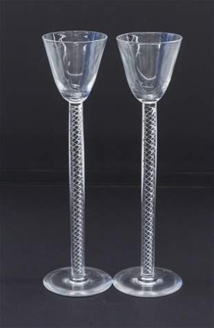 Steuben Art Glass Air Twist Chalice/ Goblet Candle