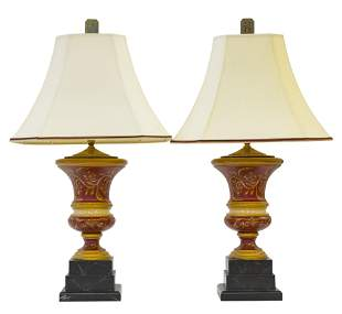 Hand Painted Urn Table Lamps