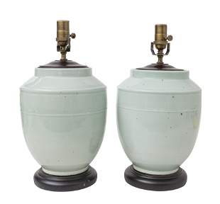 Pair of Chinese Celadon Lamps
