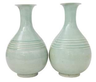 Pair of Chinese Celadon Teardrop Vase
