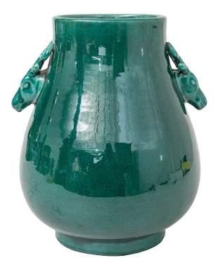 Chinese Vase with Deer Head Handles