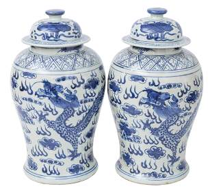 Pair of Chinese Canton Temple Jars