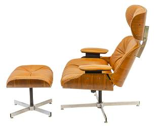 Charles and Ray Eames Style Lounge Chair and Ottoman