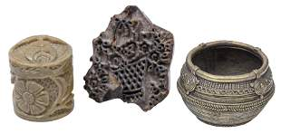 19th Cast Brass Bowl, Lidded Box and Print Block