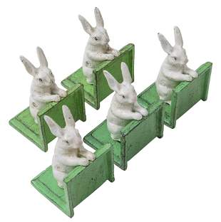 Cast Iron Bunny Rabbit Bookends