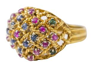 14k Gold Ring with Emeralds & Rubie