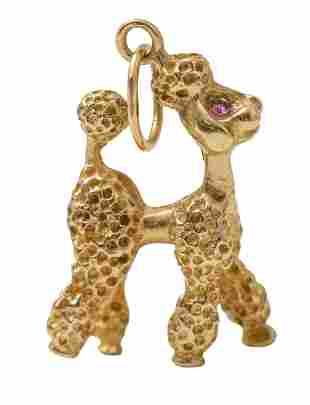 14k Gold Poodle Charm