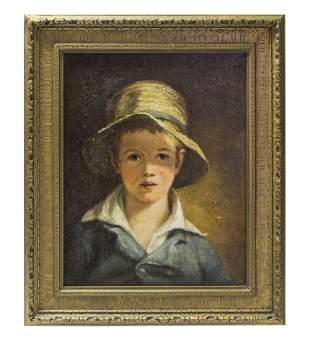 Oil of Child Wearing Straw Hat