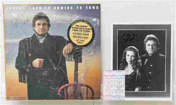 Autographed Johnny Cash Photo and Vinyl Record