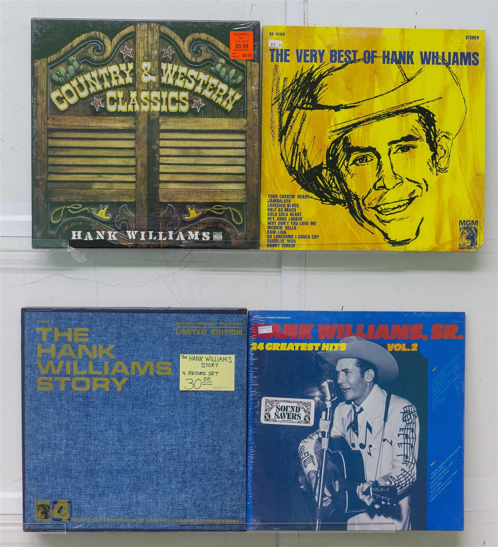 3 Hank William Vinyl Records & 1 Box Set