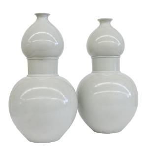 Chinese Celedon Double Gourd Vases
