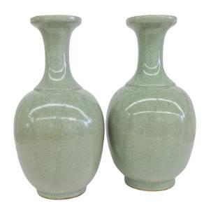 Chinese Celedon Crackle Glazed Vases