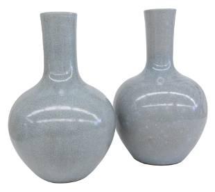 Chinese Light Blue Bottle Vases