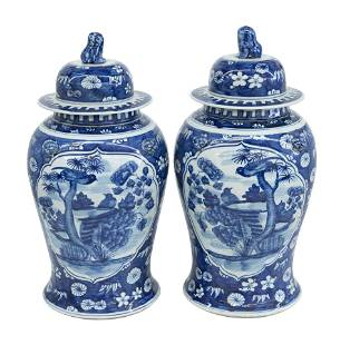 Chinese Blue and White Temple Jars